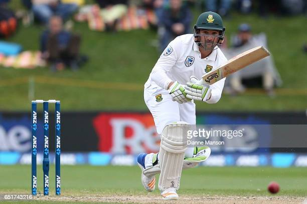 Dean Elgar of South Africa bats during day four of the First Test match between New Zealand and South Africa at University Oval on March 11 2017 in...