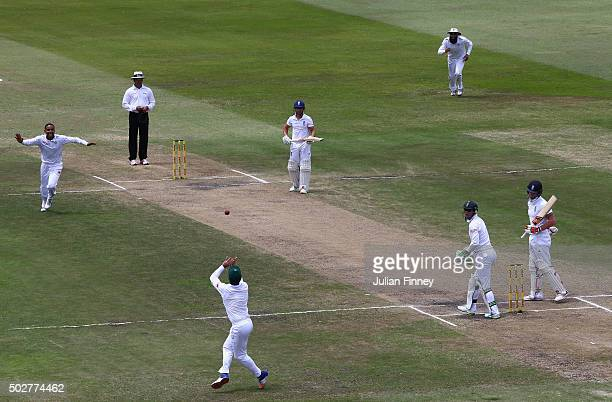 Dean Elgar of South Africa catches out Ben Stokes of England off the bowling of Dane Piedt of South Africa took his wicket during day four of the 1st...