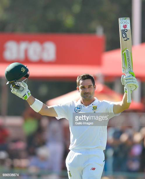 Dean Elgar of South Africa celebrate scoring 100 runs during day 1 of the 3rd Sunfoil Test match between South Africa and Australia at PPC Newlands...