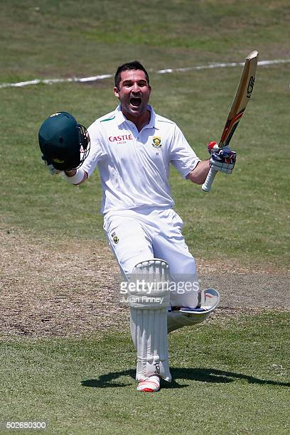 Dean Elgar of South Africa celebrates his century during day three of the 1st Test between South Africa and England at Sahara Stadium Kingsmead on...
