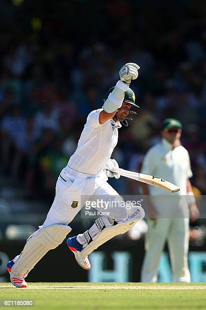 Dean Elgar of South Africa celebrates his century during day three of the First Test match between Australia and South Africa at the WACA on November...