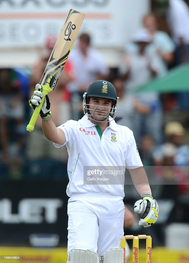 Dean Elgar of South Africa celebrates his maiden 50 during day 2 of the 2nd Test match between South Africa and New Zealand at Axxess St Georges on January 12, 2013 in Port Elizabeth, South Africa.