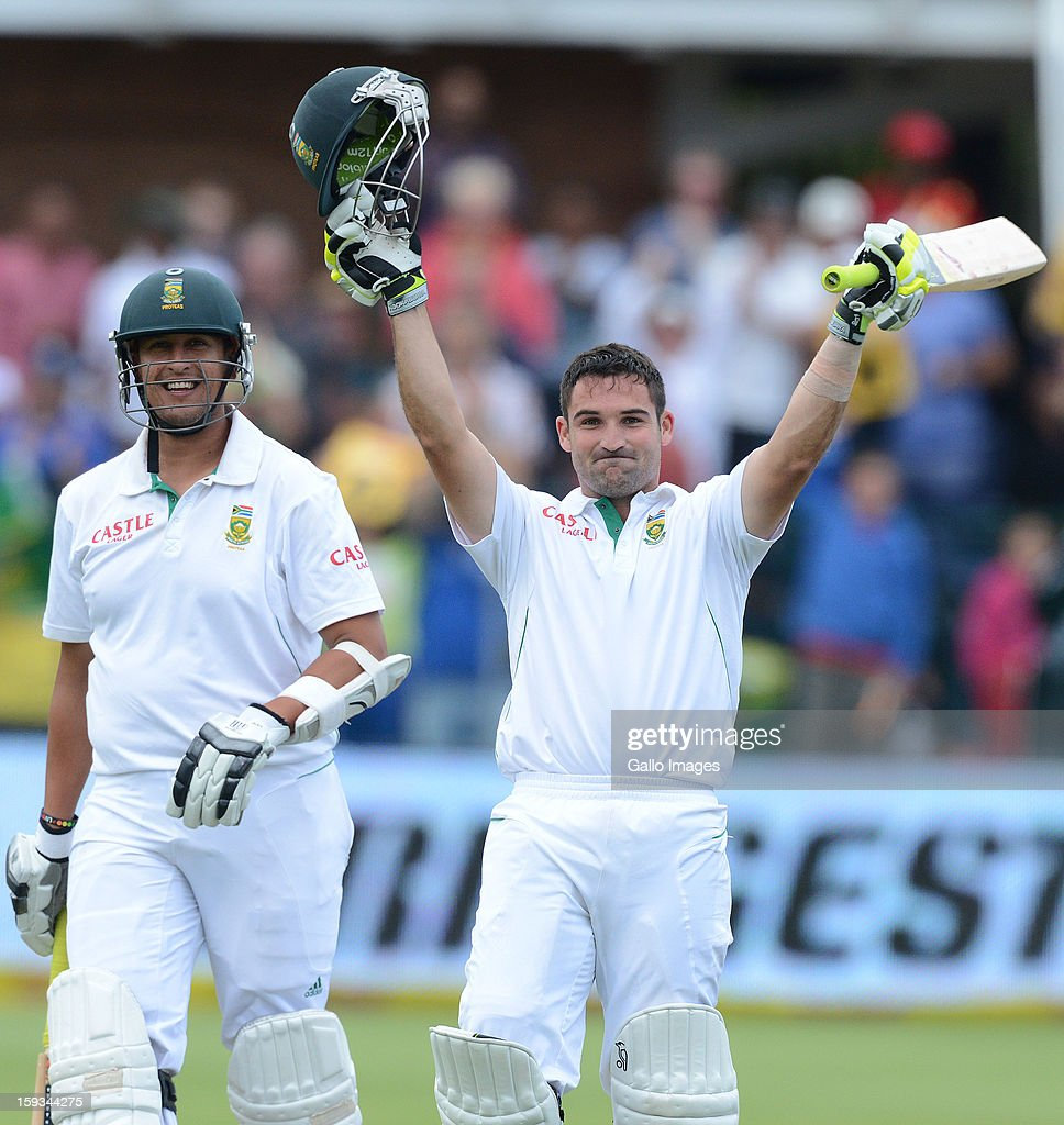 Dean Elgar of South Africa celebrates his maiden century during day 2 of the 2nd Test match between South Africa and New Zealand at Axxess St Georges on January 12, 2013 in Port Elizabeth, South Africa.