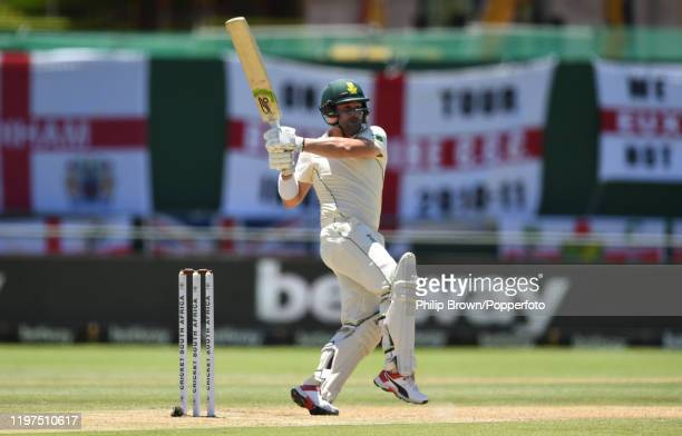 Dean Elgar of South Africa hits out during Day Two of the Second Test between England and South Africa at Newlands on January 04 2020 in Cape Town...