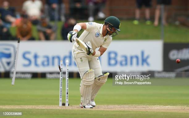 Dean Elgar of South Africa is bowled by Mark Wood during Day Four of the Third Test between England and South Africa on January 19, 2020 in Port...