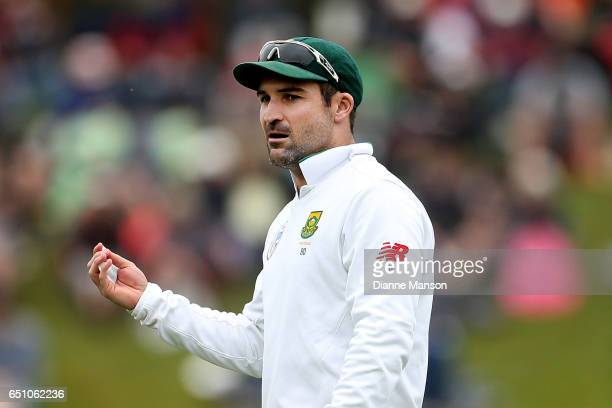 Dean Elgar of South Africa looks on during day three of the First Test match between New Zealand and South Africa at University Oval on March 10 2017...