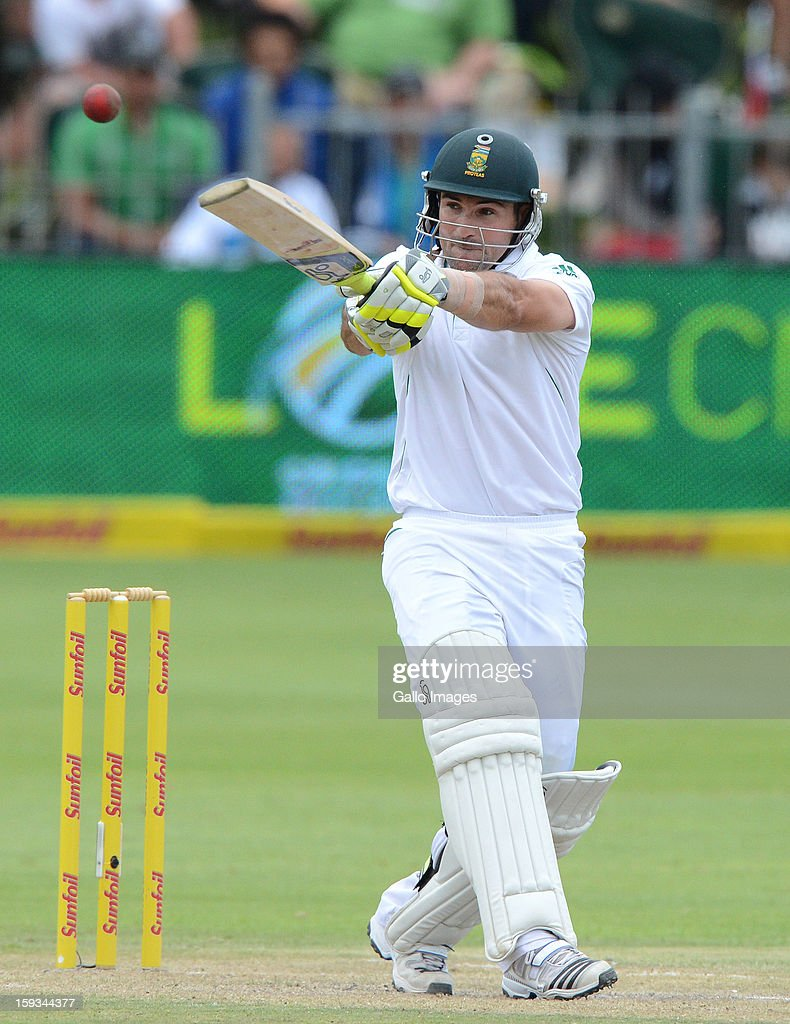 Dean Elgar of South Africa pulls a delivery to mid-on during day 2 of the 2nd Test match between South Africa and New Zealand at Axxess St Georges on January 12, 2013 in Port Elizabeth, South Africa.