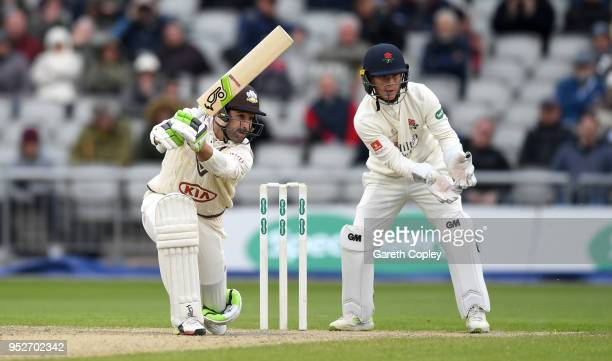 Dean Elgar of Surrey bats during the Specsavers County Championship Division One match between Lancashire and Surrey at Old Trafford at Old Trafford...