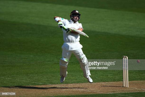 Dean Elgar of Surrey has to take evasive action during day one of the Division One Specsavers County Championship match between Surrey and Hampshire...