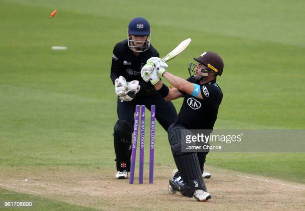 Dean Elgar of Surrey is bowled out by Benny Howell of Gloucestershire during the Royal London OneDay Cup match between Surrey and Gloucestershire at...
