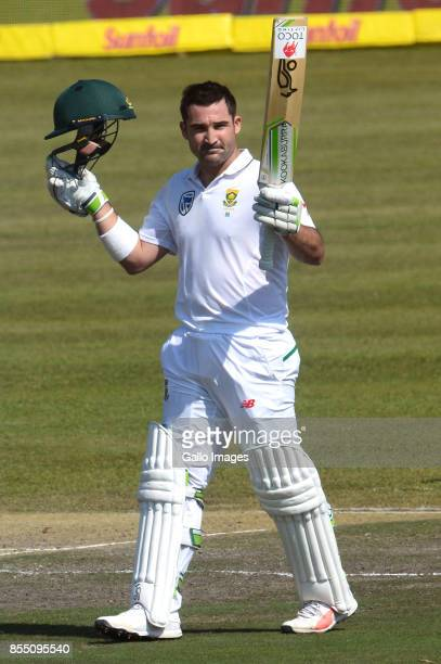 Dean Elgar of the Proteas celebrates his 100 runs during day 1 of the 1st Sunfoil Test match between South Africa and Bangladesh at Senwes Park on...