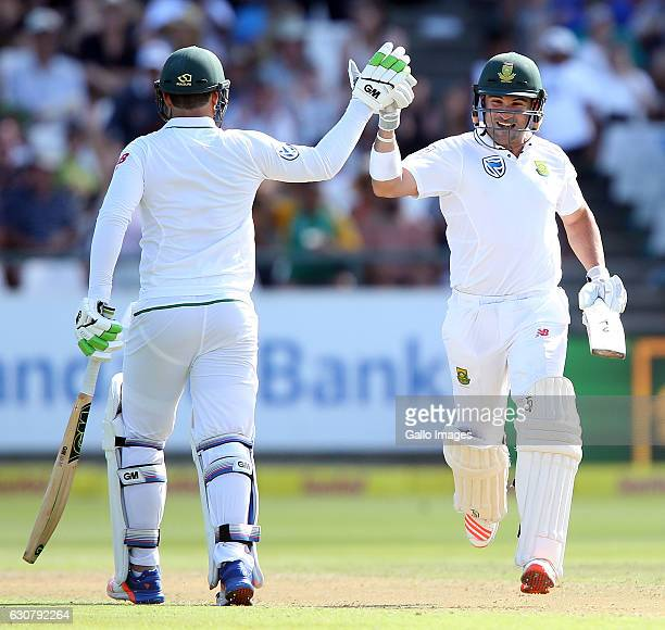 Dean Elgar of the Proteas celebrates his century during day 1 of the 2nd test between South Africa and Sri Lanka at PPC Newlands on January 02 2107...