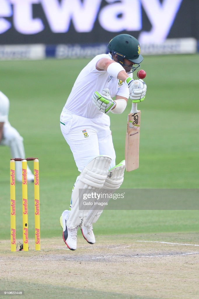 Dean Elgar of the Proteas hit on the head by Jasprit Bumrah of India during day 3 of the 3rd Sunfoil Test match between South Africa and India at Bidvest Wanderers Stadium on January 26, 2018 in Johannesburg, South Africa.