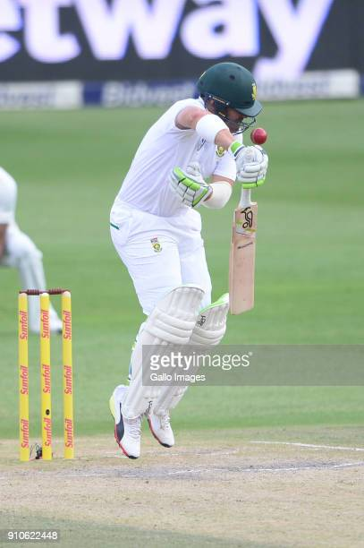Dean Elgar of the Proteas hit on the head by Jasprit Bumrah of India during day 3 of the 3rd Sunfoil Test match between South Africa and India at...