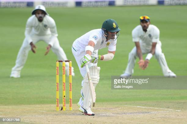 Dean Elgar of the Proteas is hit by the ball during day 3 of the 3rd Sunfoil Test match between South Africa and India at Bidvest Wanderers Stadium...