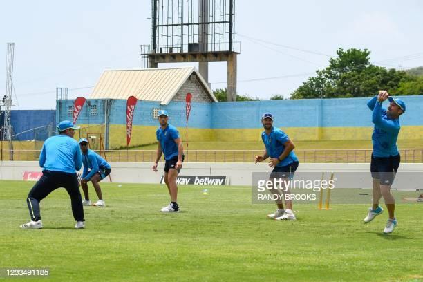 Dean Elgar , Quinton de Kock , Keegan Petersen , Wiaan Mulder and Aiden Markram of South Africa train two days ahead of the 2nd Test between South...