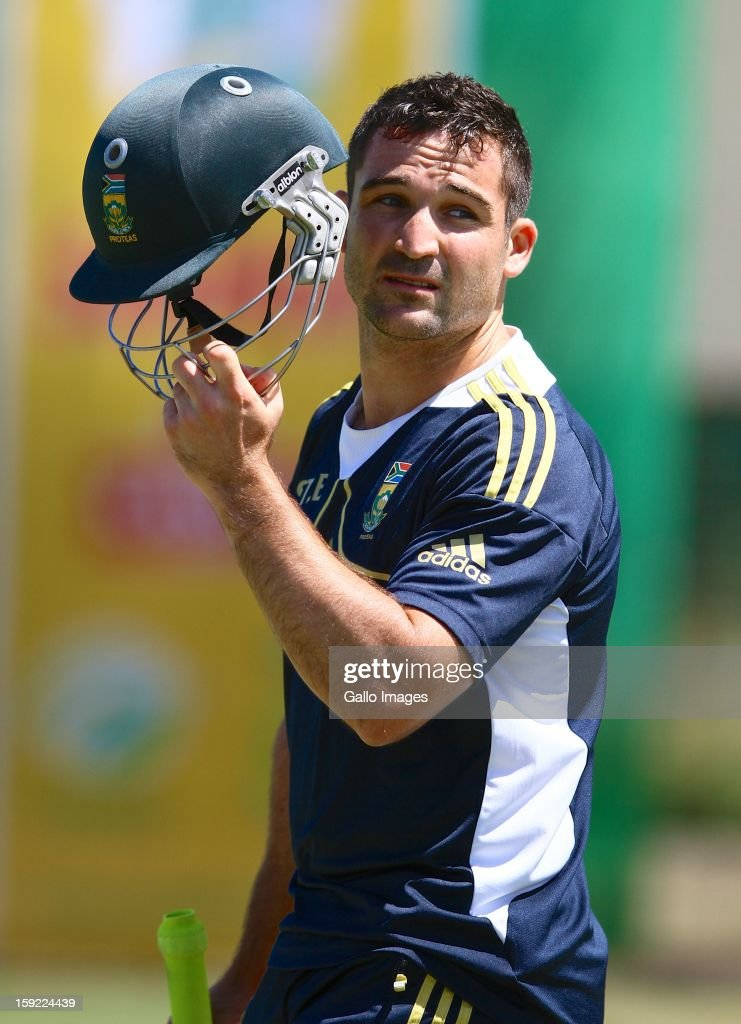 Dean Elgar removes his helmet during the South African national cricket team training session, at Axxess St Georges on January 10, 2013 in Port Elizabeth, South Africa.