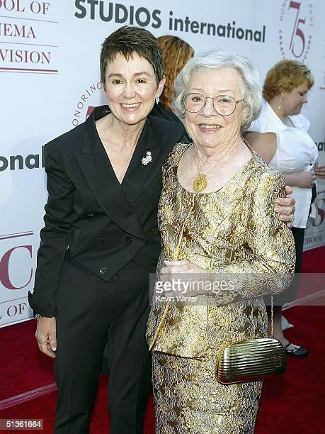 Dean Elizabeth M Daley and Alma Hitchcock pose at the 75th Diamond Jubilee Celebration for the USC School of Cinema Television at USC on September 26...