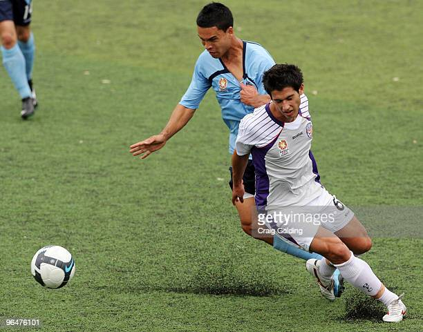 Dean Evans of the Glory fights for possession during the round 23 National Youth League match between Sydney FC and the Perth Glory at Seymour Shaw...