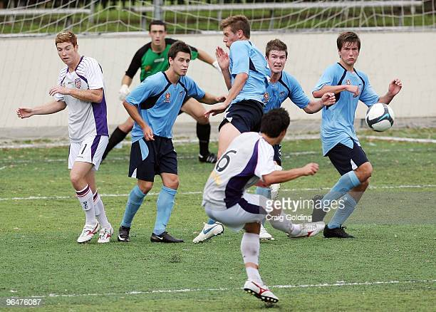 Dean Evans of the Glory takes a free kick during the round 23 National Youth League match between Sydney FC and the Perth Glory at Seymour Shaw Park...