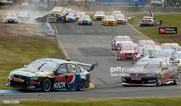 Dean Fiore spins in his Lucas Dumbrell Motorsport Holden during Qualifying race two for the Sandown 500 which is round 10 of the V8 Supercar...