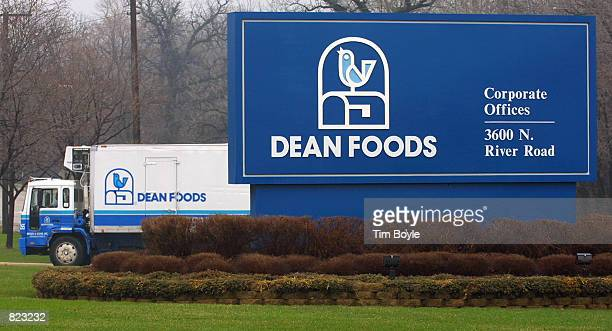 Dean Foods truck is parked behind a company sign April 6 2001 at their Franklin Park IL corporate headquarters In a giant milk merger pairing the two...