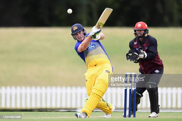 Dean Foxcroft of Otago bats during the Ford Trophy match between Canterbury and Otago at Hagley Oval on February 05 2020 in Christchurch New Zealand