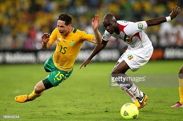 Dean Furman of South Africa and Mohamed Sissoko of Mali during the 2013 African Cup of Nations Quarter Final 2 match between South Afica and Mali...