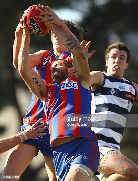 Dean Galea of Port Melbourne marks during the round 17 VFL match between Port Melbourne and Geelong at Teac Oval on August 14, 2010 in Melbourne,...