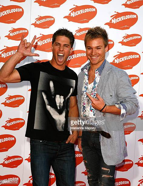 Dean Geyer and Sam Clark arrive for the Australian Nickelodeon Kids' Choice Awards 2009 at Hisense Arena on November 13 2009 in Melbourne Australia