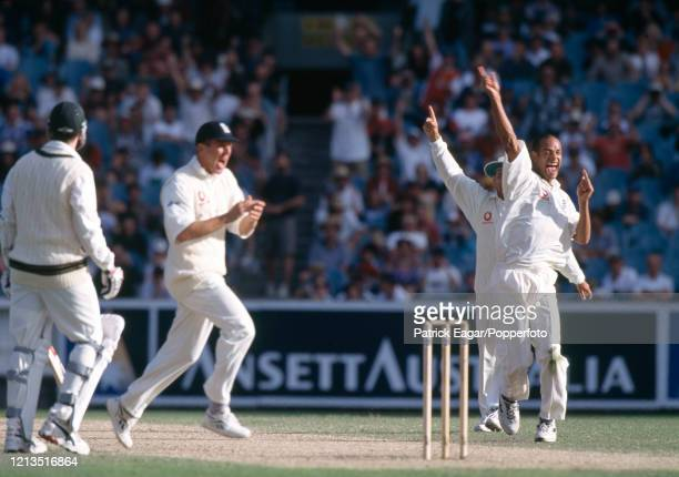 Dean Headley of England celebrates after trapping Damien Fleming of Australia LBW for 0 during the 4th Test match between Australia and England at...