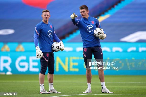 Dean Henderson and Nike Pope of England during the UEFA Nations League group stage match between England and Belgium at Wembley Stadium on October 11...