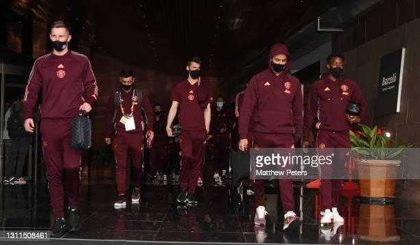 Dean Henderson, Bruno Fernandes, David de Gea, Mason Greenwood, Anthony Elanga of Manchester United leave the team hotel ahead of the UEFA Europa...