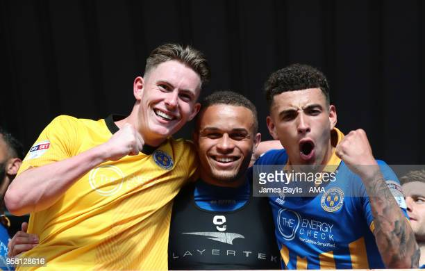 Dean Henderson Carlton Morris and Ben Godfrey of Shrewsbury Town celebrate winning the game after the Sky Bet League One Play Off Semi FinalSecond...