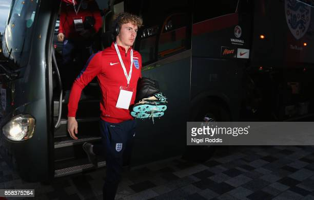 Dean Henderson of England arrives prior to the UEFA European Under 21 Championship Group 4 Qualifier between England and Scotland at Riverside...