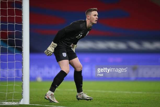 Dean Henderson of England in action during the international friendly match between England and the Republic of Ireland at Wembley Stadium on...
