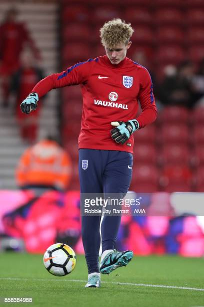 Dean Henderson of England U21 prior to the UEFA European Under 21 Championship Qualifiers fixture between England U21 and Scotland U21 at Riverside...