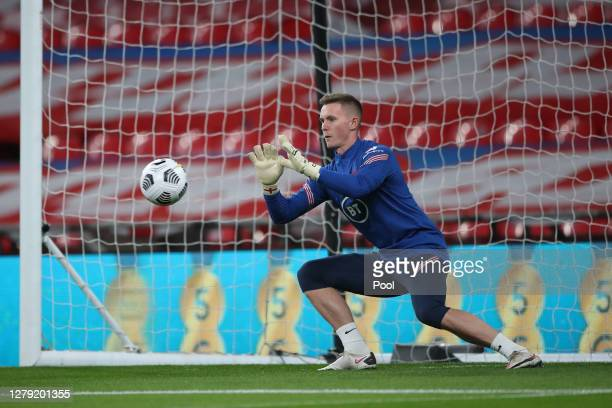 Dean Henderson of England warms up during the international friendly match between England and Wales at Wembley Stadium on October 08, 2020 in...