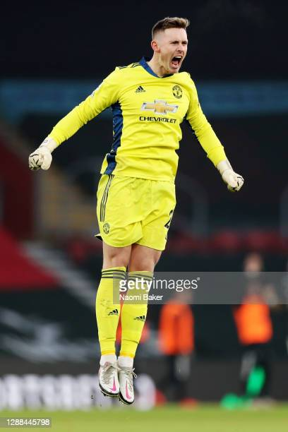 Dean Henderson of Manchester United celebrates his teams second goal during the Premier League match between Southampton and Manchester United at St...