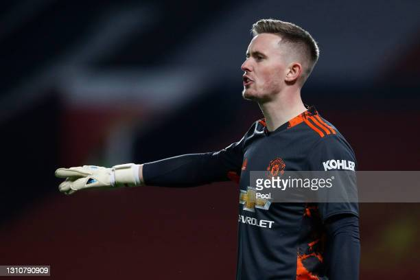 Dean Henderson of Manchester United gives their team instructions during the Premier League match between Manchester United and Brighton & Hove...