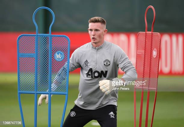 Dean Henderson of Manchester United in action during a training session at Aon Training Complex on August 26, 2020 in Manchester, England.