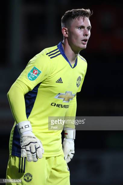 Dean Henderson of Manchester United looks on during the Carabao Cup Third Round match between Luton Town and Manchester United at Kenilworth Road on...