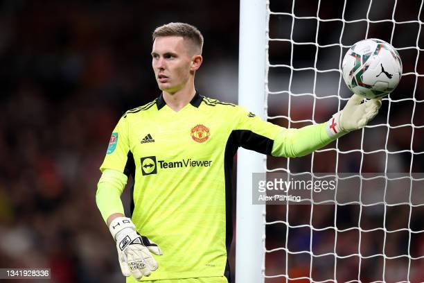 Dean Henderson of Manchester United looks on during the Carabao Cup Third Round match between Manchester United and West Ham United at Old Trafford...