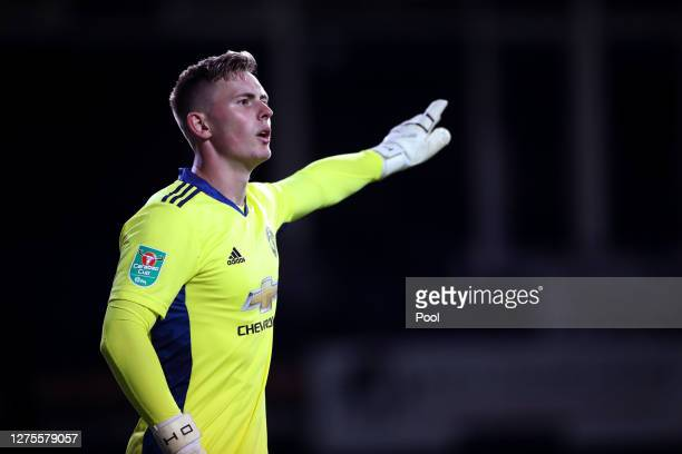 Dean Henderson of Manchester United reacts during the Carabao Cup Third Round match between Luton Town and Manchester United at Kenilworth Road on...