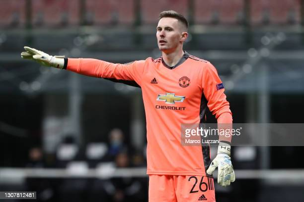 Dean Henderson of Manchester United reacts during the UEFA Europa League Round of 16 Second Leg match between AC Milan and Manchester United at San...