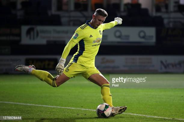 Dean Henderson of Manchester United takes a goal kick during the Carabao Cup Third Round match between Luton Town and Manchester United at Kenilworth...