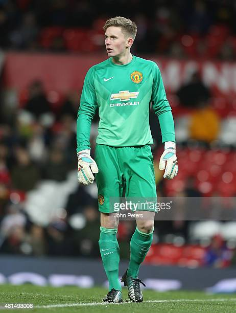 Dean Henderson of Manchester United U18s in action during the FA Youth Cup Fourth Round match between Manchester United U18s and Hull City U18s at...
