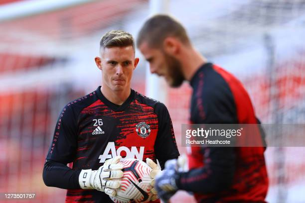 Dean Henderson of Manchester United warms up prior to the Premier League match between Manchester United and Crystal Palace at Old Trafford on...