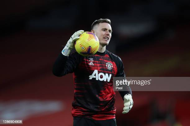 Dean Henderson of Manchester United warms up prior to the Premier League match between Manchester United and West Bromwich Albion at Old Trafford on...