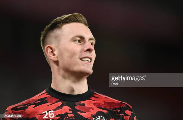 Dean Henderson of Manchester United warms up prior to the Premier League match between Manchester United and Newcastle United at Old Trafford on...